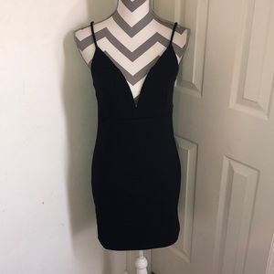 Deep V black Dress